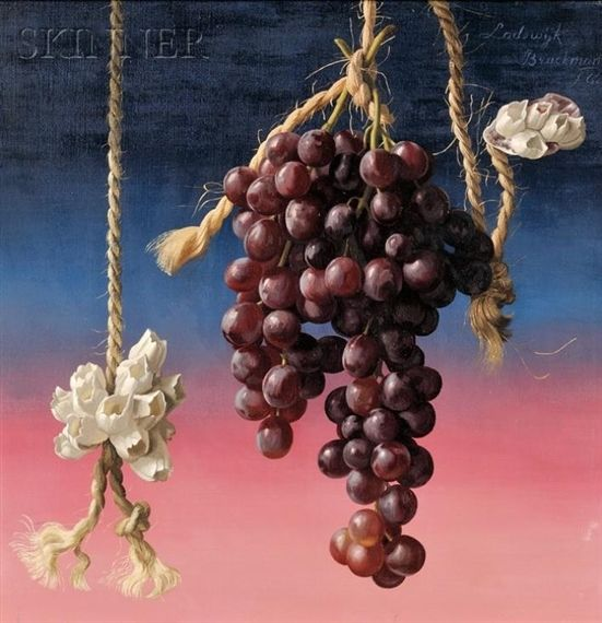 HANGING GRAPES By Karel Bleijenberg Artwork Description Dimensions: 16 x 16 in. (40.6 x 40.6 cm) Medium: Oil on canvas Creation Date: 1962 Signed
