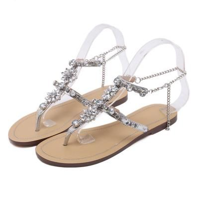 2017 Woman Sandals Women Shoes Rhinestones Chains Thong Gladiator ... e9b07385cdf5