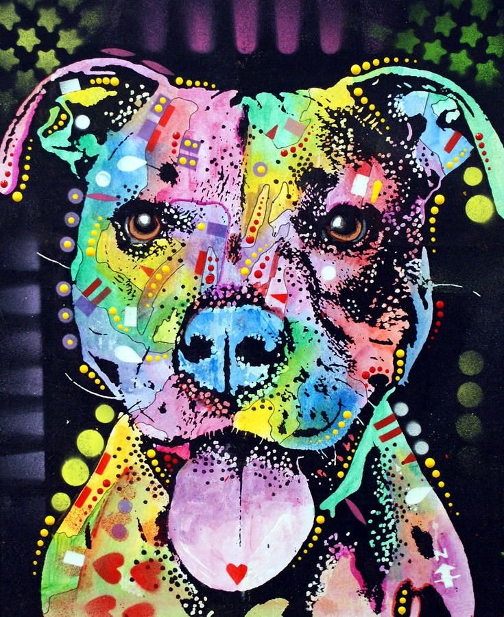 Cherish The Pitbull Painting by Dean Russo - Cherish The Pitbull Fine Art Prints and Posters for Sale