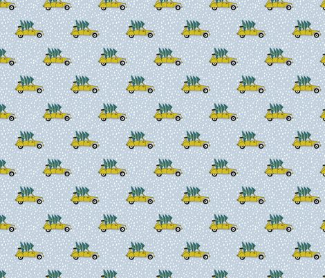 Driving home for Christmas Vintage french oldtimer christmas tree winter snow wonderland ochre blue fabric - surface design by Little Smilemakers on Spoonflower - custom fabric and wallpaper inspiration for kids clothes fun fashion and trendy home decorations.