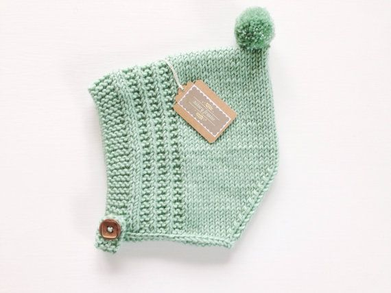 Knit Baby Pixie Bonnet Merino Wool Pixie Hat by hilaryfrazier