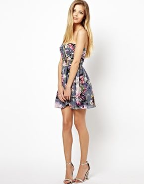 Lashes Of London Dress In Floral Print With Fluro Piping