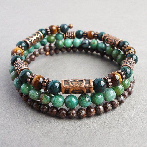 Mens Wrap-around Memory Wire Bracelet - Bloodstone, Tiger Eye, African Jade, Brown Jasper Gemstones - Handcrafted in USA $32.95