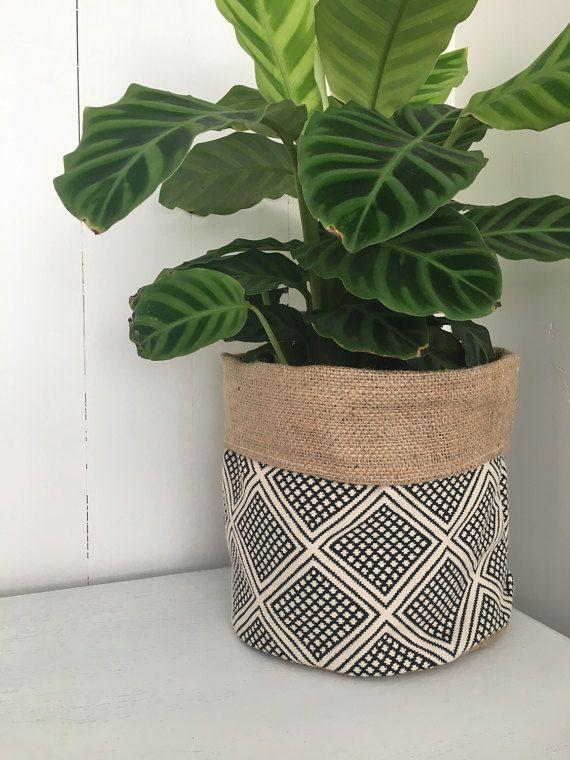 Modern wanderer hessian planter bag by restoregrace on Etsy