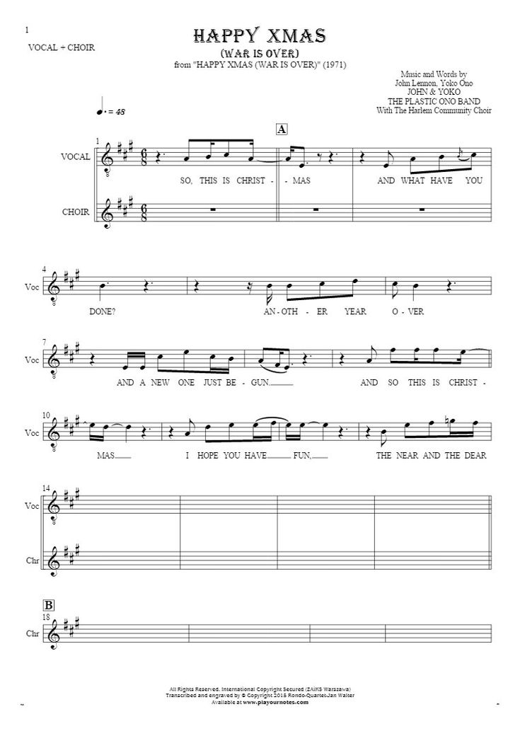 Happy Xmas (War Is Over) sheet music by John & Yoko The Plastic Ono Band. From album Happy Xmas (War Is Over) (1971). Part: Notes and lyrics for vocal.