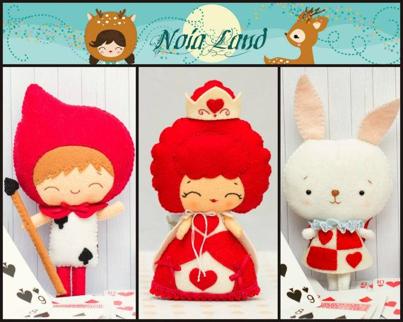 Wonderland Pattern: Queen of the hearts, Card soldier and White Rabbit. PDF Pattern on Etsy, $12.00