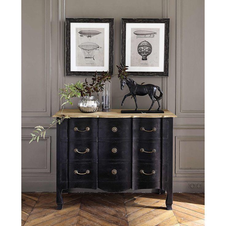 2 cadres en bois noirs 49 x 59 cm DIRIGEABLE | Maisons du Monde