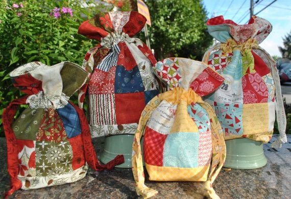 "Drawstring Bag that uses 2 1/2"" squares (Moda's Mini Charm Squares) #mini charms #bags #drawstring bags #quilting #sewing #moda fabric"