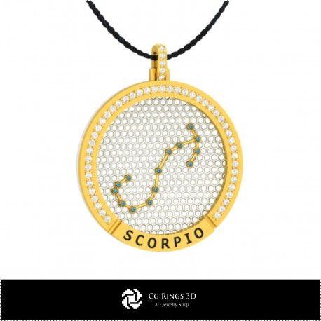 3D CAD Scorpio Zodiac Constellation Pendant