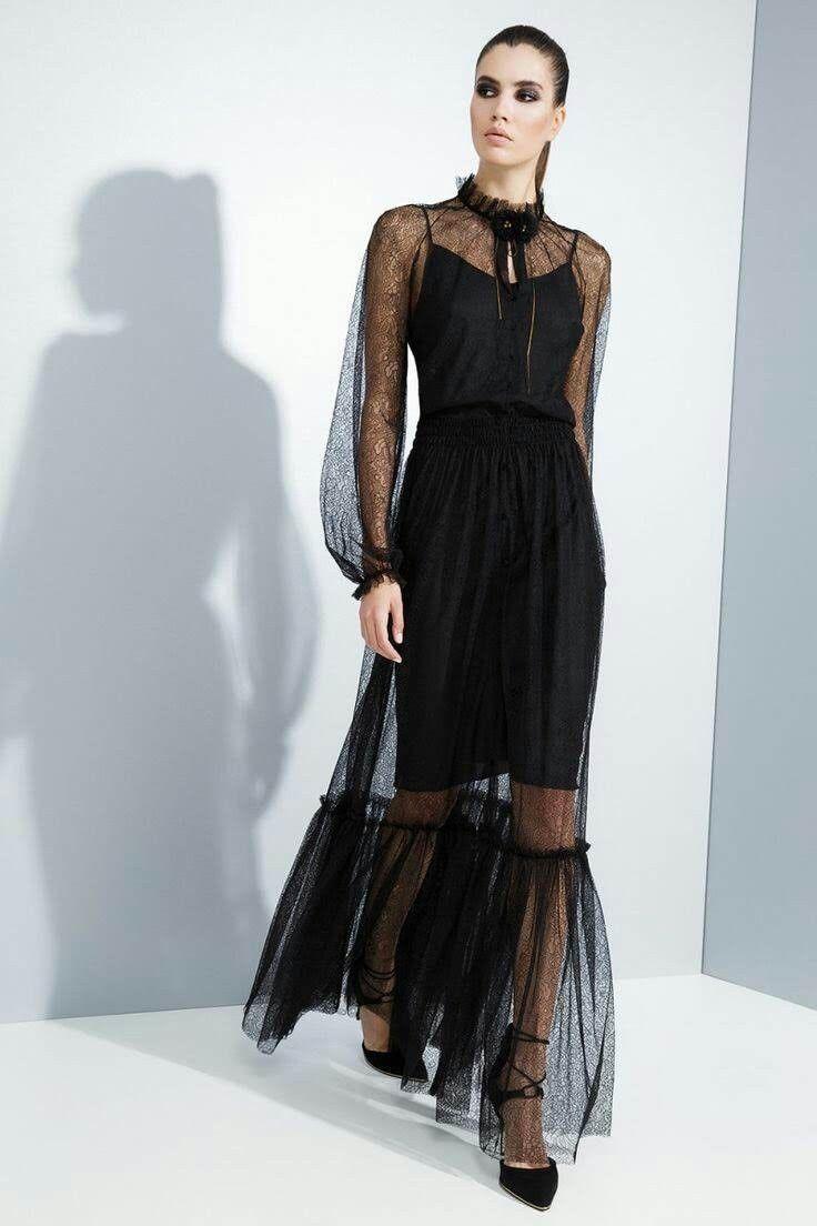 черное прозрачное платье можно