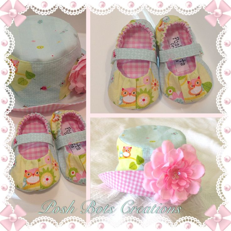The sweetest little handmade hat & shoe gift set available from www.facebook.com/poshbotscreations #handmade #babyshoes