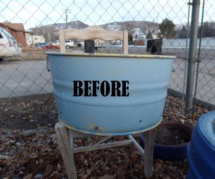 DIY FLower Tower from an antique washing bin