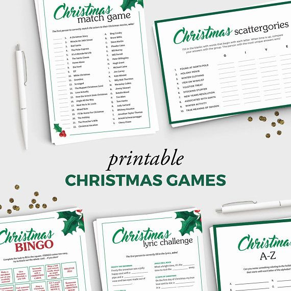 This PARTY PACK includes all 5 of our popular Christmas printable games:  WHAT YOU GET: A zipped file containing the PDFs for each of these games: - Christmas Movie Match Game (includes Answer Key) - Christmas Lyric Fill-in-the-blank Game (includes Answer Key) - Holiday Party Bingo - Scattergories - A to Z   This listing is a bundle of 5 Christmas games: - Christmas Movie Match Game: https://www.etsy.com/listing/479971158/christmas-party-game-christmas-movie - Christm...