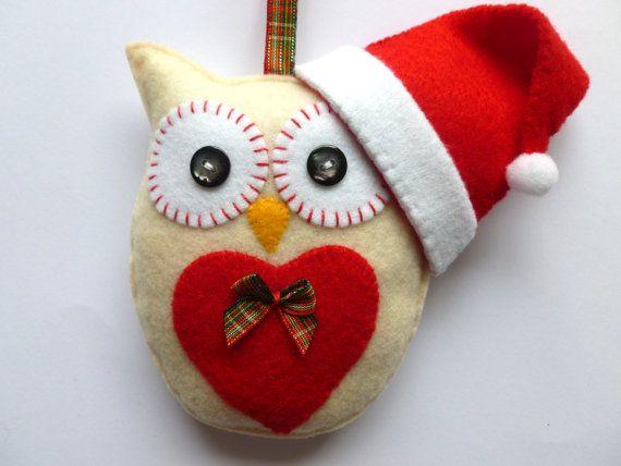 Christmas Felt Owl Hanging Decoration Handmade by SewJuneJones