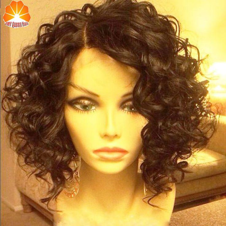 Kepadatan penuh Keriting Wig Perawan Brasil Longgar Curly Depan Lace WIg untuk Hitam Wanita Bob Rambut Manusia Wig Glueless Penuh Renda Wig