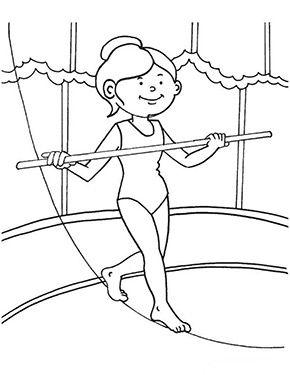 ausmalbild seiltänzerin im zirkus | thema zirkus, zirkus