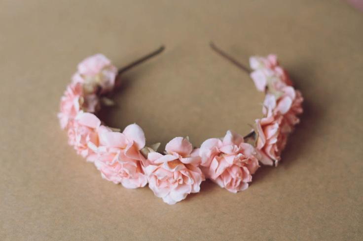 romantic pastel rose headband