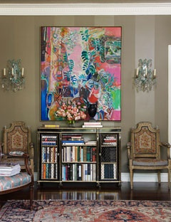 Striped Wall  Farrow  Ball Mouse's Back in flat and glossy creates tone-on-tone stripes in the living room. A Robert Frame painting hangs above a period Regency console. The chairs are Italian needlepoint.