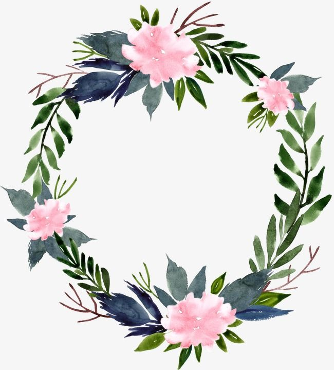 Watercolor Flower Ring Round Border Watercolor Clipart
