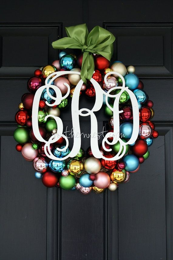 Def not all these colors...but I like use of ornaments for a fun gaudy office wreath!