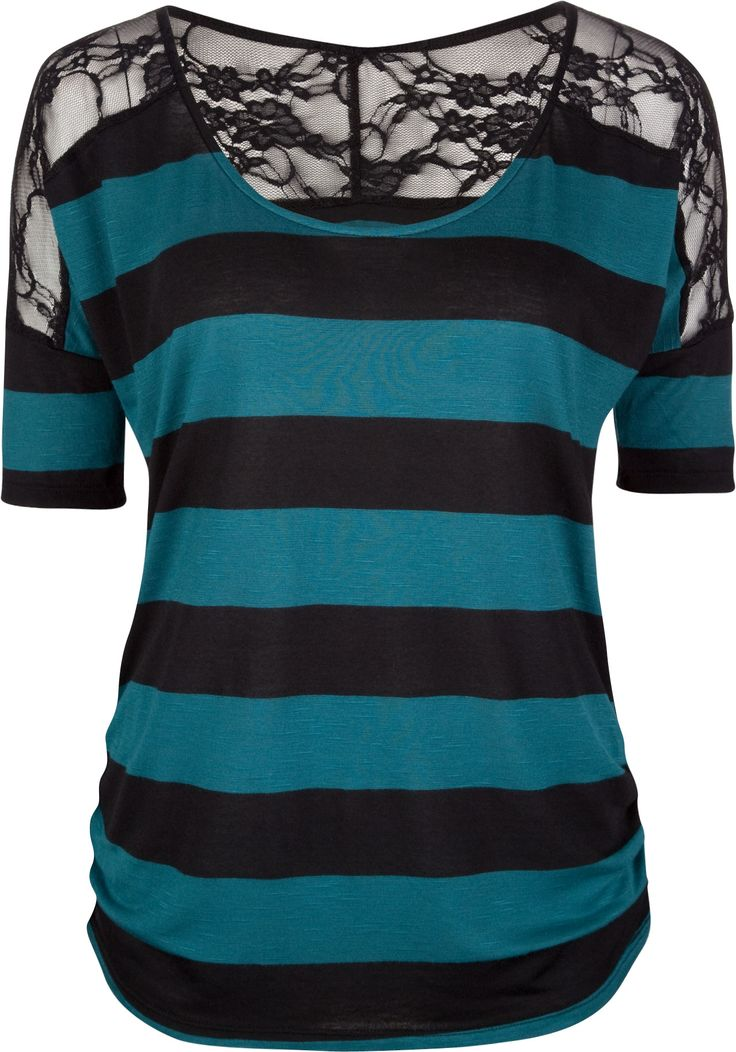FULL TILT Lace Shoulder Stripe Womens Top 202873512   Knit Tops & Tees   Tillys.com