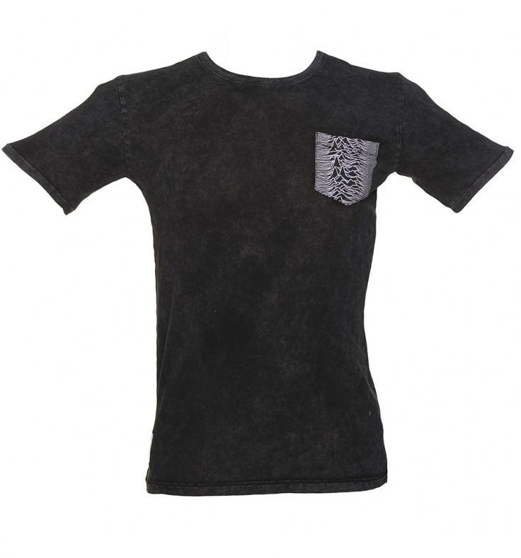 Men's Charcoal Joy Division Unknown Pleasures Pocket T-Shirt