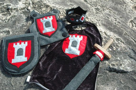 Knight Costume Gift Set BLACK and RED - Super Cape - Super Hero Costume - Halloween Costume - Halloween Costume - Kid Costume via Etsy