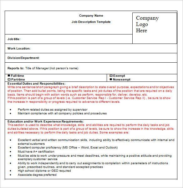 Job Description Template – 47+ Free Word, Excel, PDF Format Download! | Free & Premium Templates