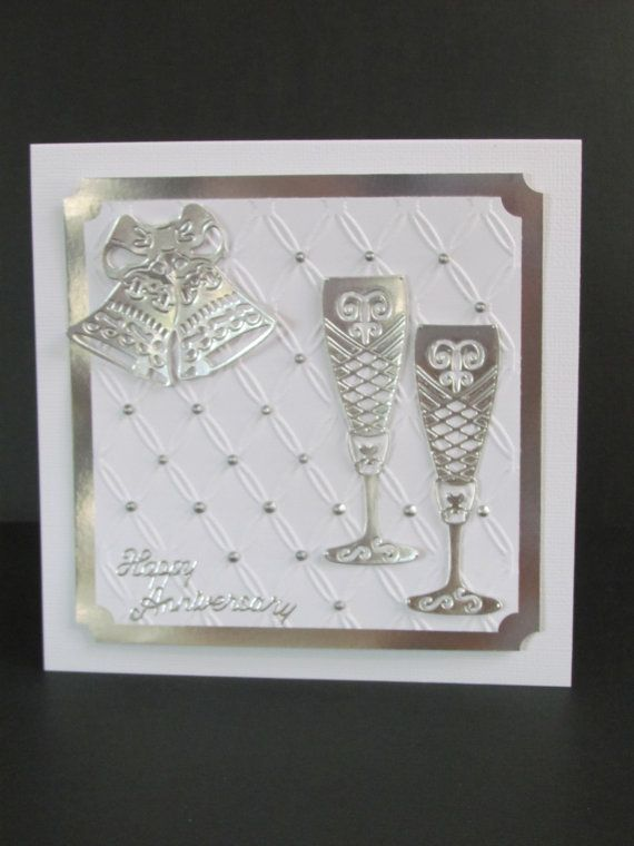 25th Anniversary Silver Wine Goblets Bells by DebbiesLadybugDesign, $8.50