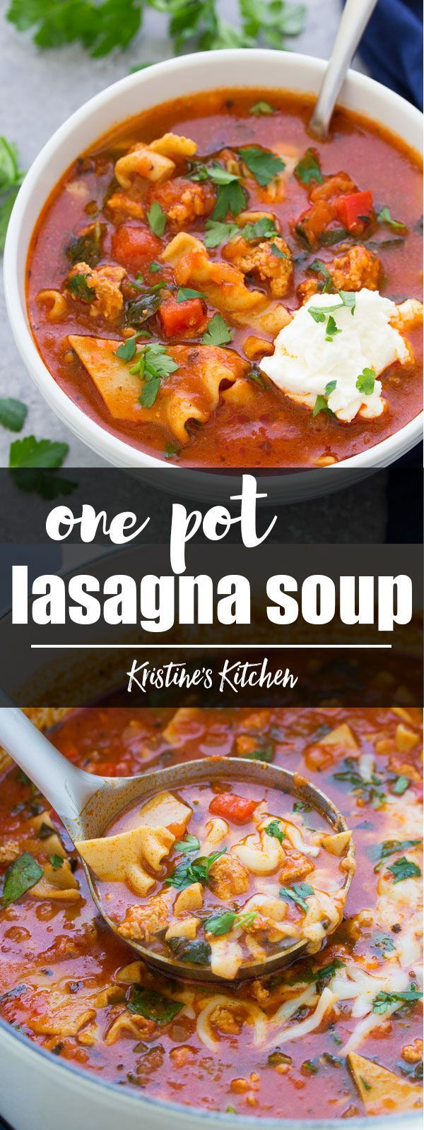 This healthier one pot lasagna soup is made with ground turkey and whole wheat pasta noodles. This soup is full of healthy vegetables. It's a quick and easy family friendly dinner recipe! #onepot #lasagna #pasta #soup #turkey #healthyeating #dinner