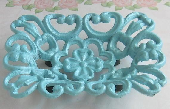 Shabby Chic Light Blue Cast  Iron Metal  Soap by happybdaytome, $14.95