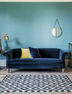 Midnight Blue Velvet Sofa