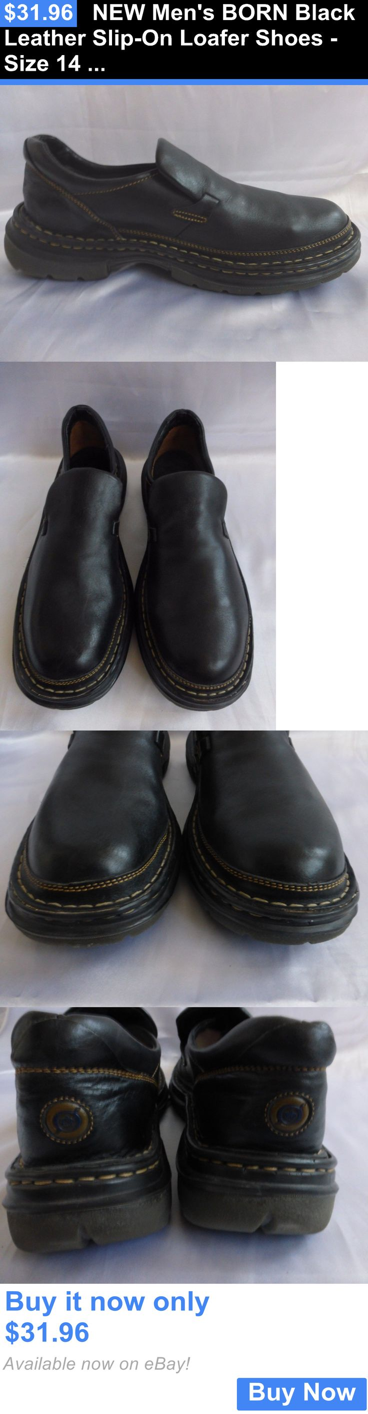 Men Shoes: New Mens Born Black Leather Slip-On Loafer Shoes - Size 14 Us BUY IT NOW ONLY: $31.96