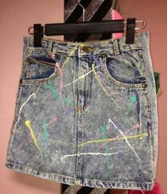 Paint splattered clothing was a big trend in the late 80's. I made a bunch of splattered clothes myself. They were WAY cool!!