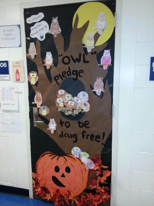 Classroom Pledge Ideas ~ Quot owl pledge to be drug free decorating doors