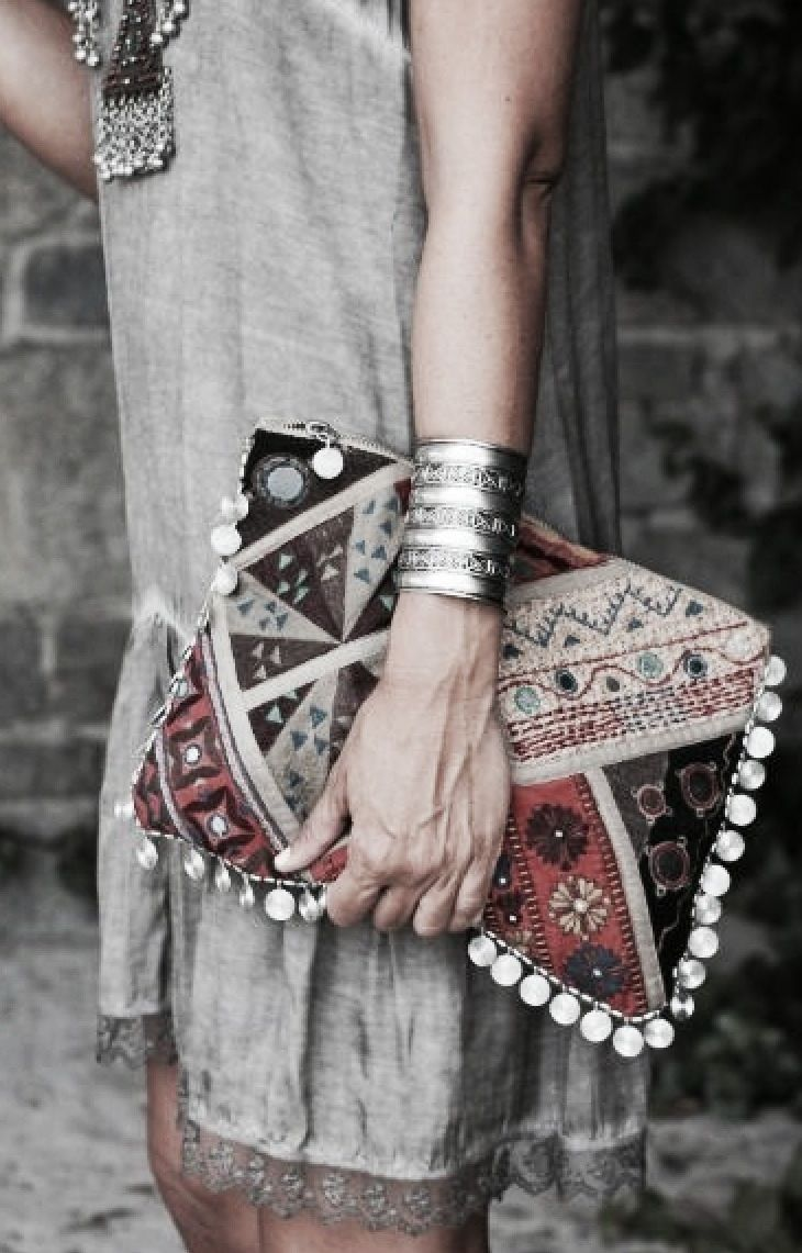 ☮ American Hippie Bohéme ☮ Gray Boho ☮ Dress Bag