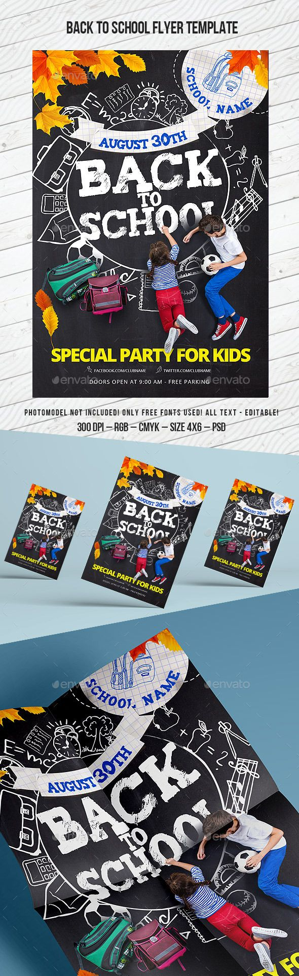 Back to School Flyer Template #design Download: http://graphicriver.net/item/back-to-school-flyer-template-party-for-kids/12429663?ref=ksioks