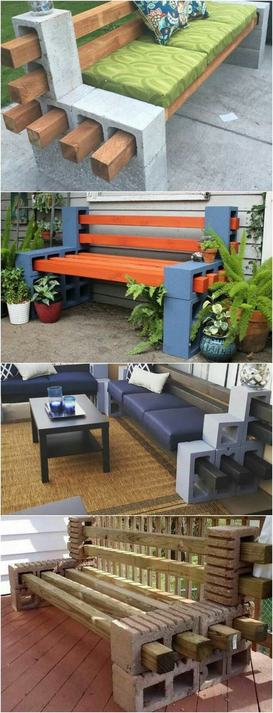 Diy patio furniture cinder blocks - How To Make A Bench From Cinder Blocks 10 Amazing Ideas To Inspire You How To Use Cement Blocks In Practical Outdoor Projects Also You Can Use Wooden
