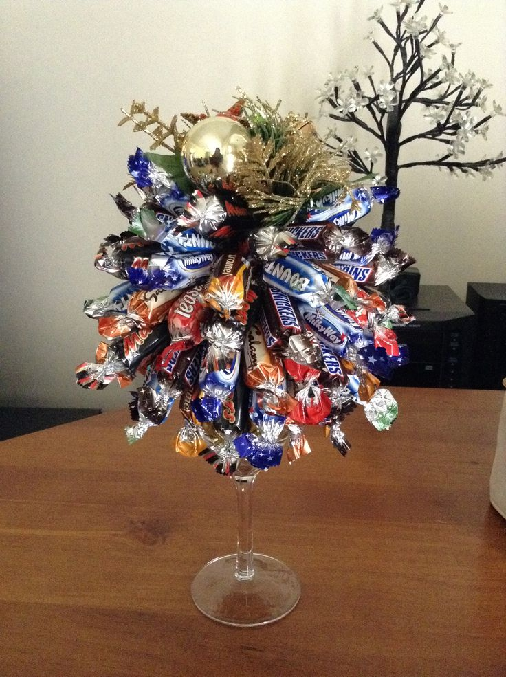 Christmas Lolly Tree - Put shredded tinsel into a wine glass and tape a styrofoam ball to the glass. Starting at the bottom pin lollies/chocolates to the ball. Push a topper through the top. This tree took 750g of chocolates.