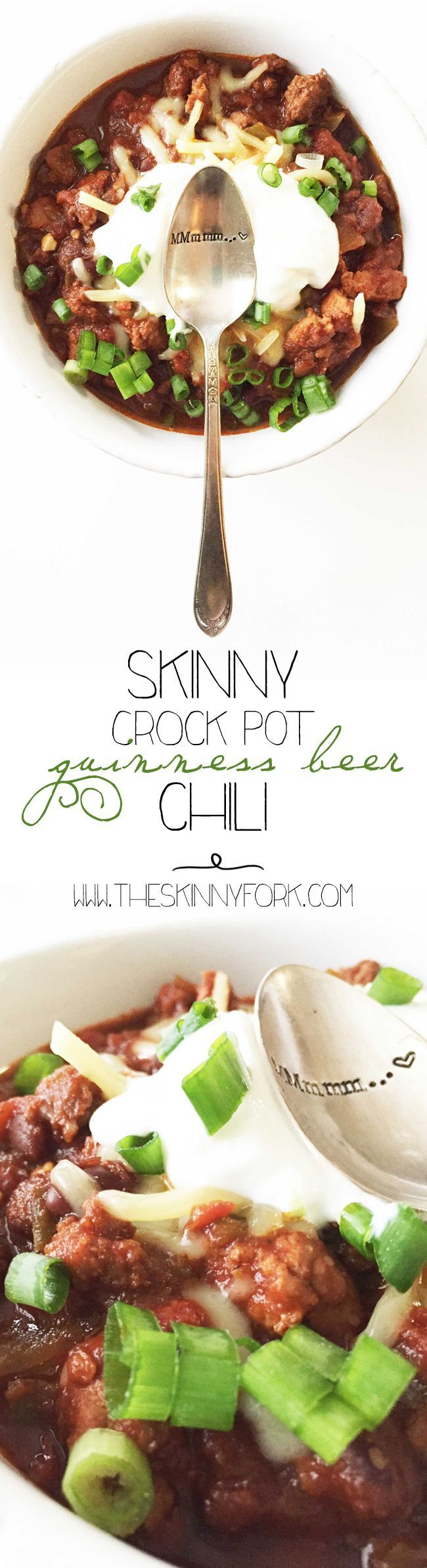 Skinny Crock Pot Guinness Beer Chili - Or as I like to call it... Irish chili! Low carb, beer friendly, and full of Bar-B-Q love! TheSkinnyFork.com | Skinny & Healthy Recipes