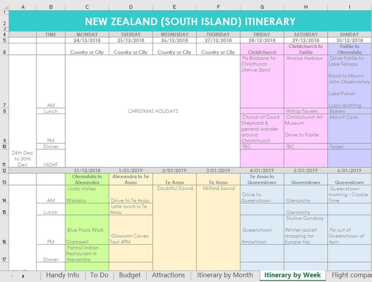 Weekly Itinerary Planner Excel Template Spreadsheet Quick Simple