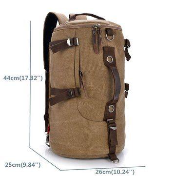 Men Dual-Use Canvas Bucket Backpack Jungle Climbing Bag Laptop Backpack Rucksack Duffel Bag