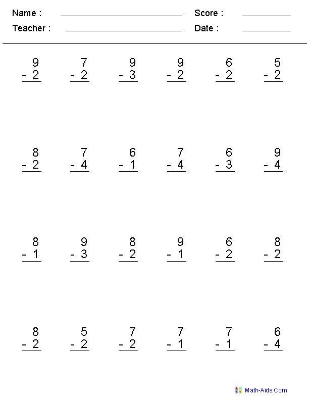 Single Digit Subtraction Worksheets | Kids & School ...