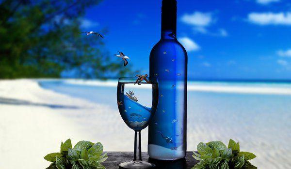 Обои на рабочий стол: берег, бокал, бутылка, водолаз, звезда, клад, корабль, макро, мир, море, морская, небо, облака, океан, песок, подводный, птицы, резкость, рыбы, фокус, черепаха