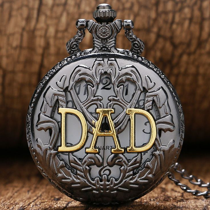 DAD Fashion Black Hollow Goden Dad Father Puppy Daddy Grandpa's Gift Pocket Watch with Chain Necklace
