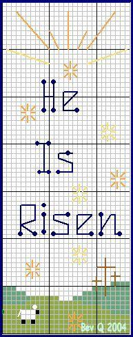"""He Is Risen"" bookmark cross stitch pattern"