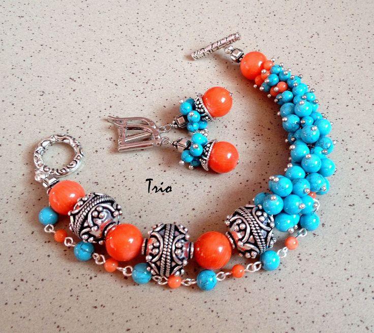Купить Комплект Праздник каждый день - комбинированный, яркие украшения, комплект браслет и серьги