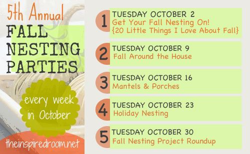 Join The Inspired Room for the 5th Annual Fall Nesting series and parties. A full month of inspiration for the season ahead!