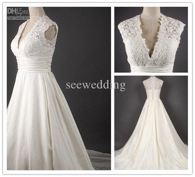 Wholesale A Line Sexy Deep V Neck Empire Cap Sleeves Cathedral Train Lace Chiffon Wedding Gowns Wedding Dress, Free shipping, $201.6-224.0/Piece | DHgate