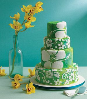 Luau cake with hibiscus flowers - gorgeous!